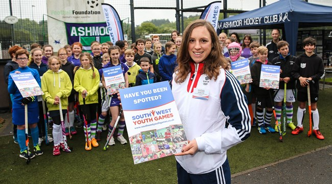 Olympian Heather Fell launching the South West Youth Games at the Teignbridge hockey trials.